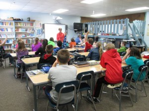 Naturalist/Education Director Emily Stone engages fifth graders in a discussion about energy.